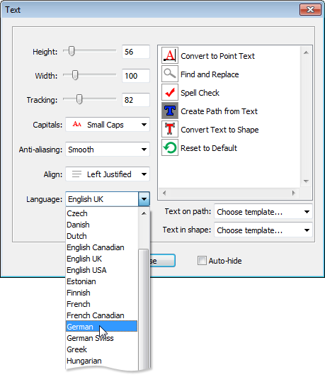 Assigning language to a text layer