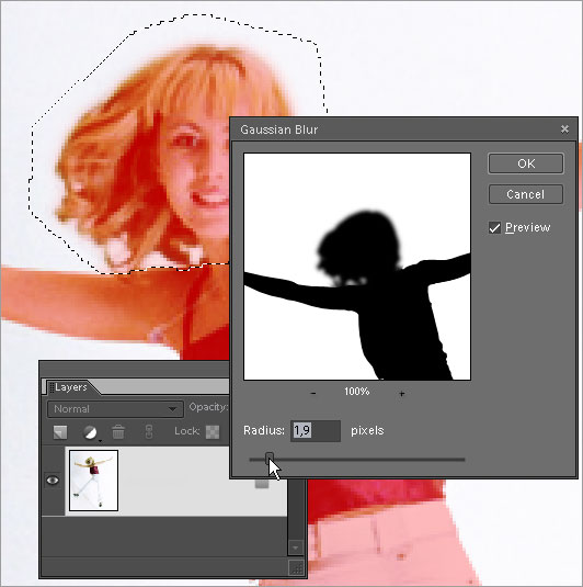 Blurring selected area of quick mask