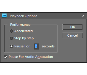Pausing playback for 2 seconds at every step
