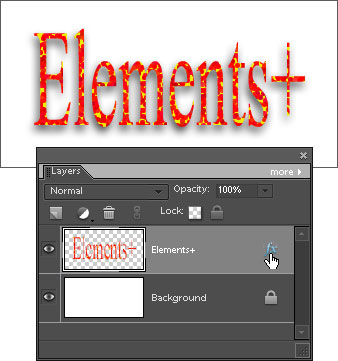 Rasterized type layer with editable Drop Shadow effect