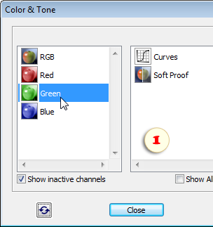 Selecting the Green channel